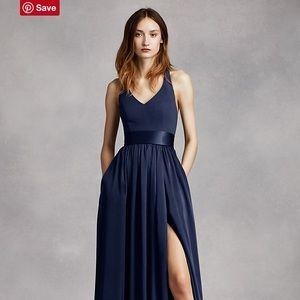Vera Wang V Neck Halter Bridesmaid Gown